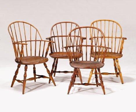 21345: Four sack back Windsor armchairs, pennsylvania,