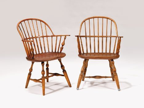 21346: Two sack back Windsor armchairs, pennsylvania, l