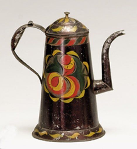 21348: Painted and paint-decorated tinware coffeepot, p