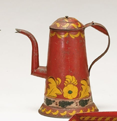 21349: A red painted and paint-decorated tinware coffee