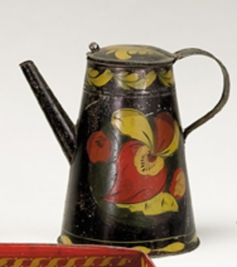 21350: Painted and paint-decorated tinware coffeepot, p
