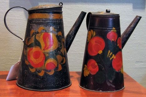21351: Two painted and paint-decorated coffeepots, penn