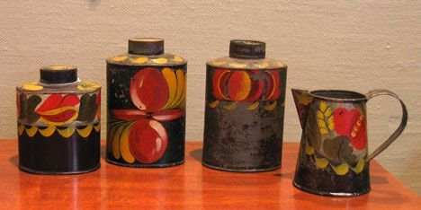 21354: Four painted and paint-decorated tinware items,