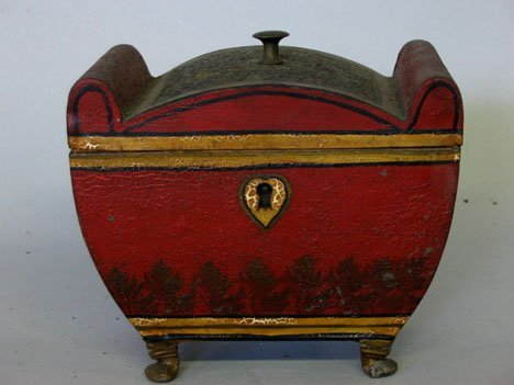 21355: Red painted and stenciled tea caddy, 19th centur