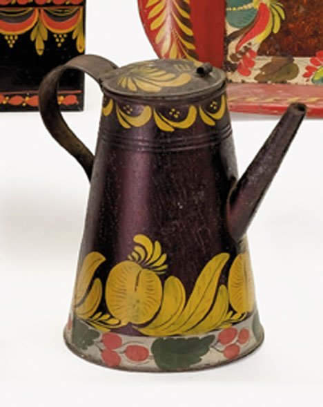 21356: Painted and paint-decorated tinware coffeepot, p