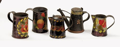 21357: Five painted and paint-decorated tinware items,