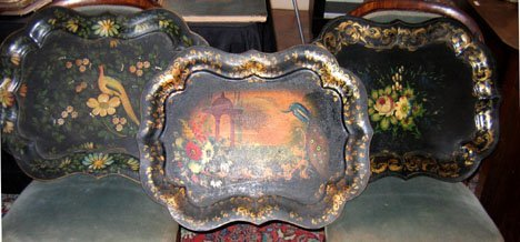 21360: Four painted, decorated and gilded tinware trays