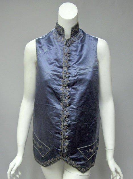 11001: Gentleman's slate blue silk satin embroidered wa