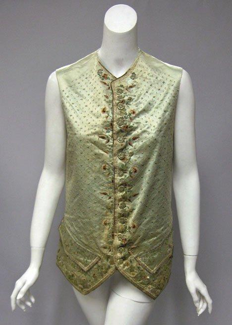 11002: Gentleman's pale green silk embroidered waistcoa