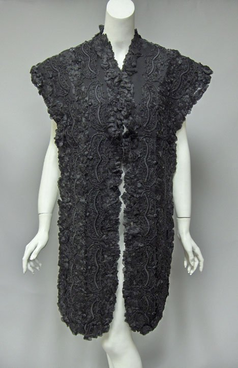 11008: Victorian black embellished silk and wool stole,