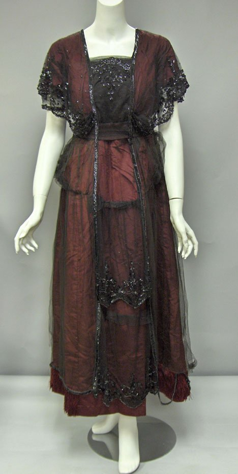 11009: Two Victorian dresses, , One in white silk with