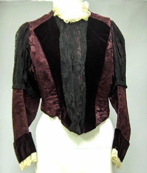 11010: Victorian burgundy silk jacquard and velvet bodi