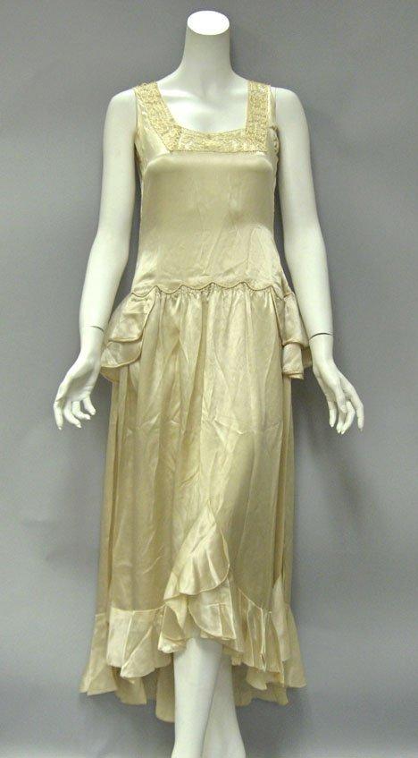 11012: Ivory silk drop-waist dress, 1920s, Tatted lace