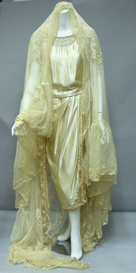 11013: Edwardian Wedding Dress & bed cover