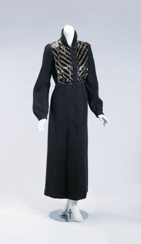 11020: Mainbocher black wool & mohair sequined dress co
