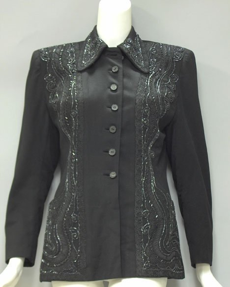 11022: Evalen black beaded and embellished blazer, 1940