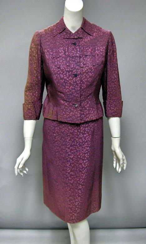 11023: Jacquard Adrian skirt suit, 1940s, Narrow woven