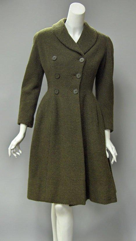 11024: Hardy Amies green wool tweed ladies coat, 1950s,