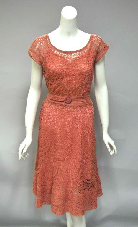 """11025: Glengyle salmon pink ribbon"""" dress, 1950s, In co"""