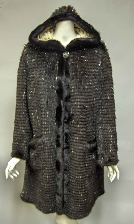 11151: Black and white reversible knitted mink coat, co