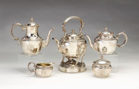 3150: Whiting five piece sterling silver tea & coffee s