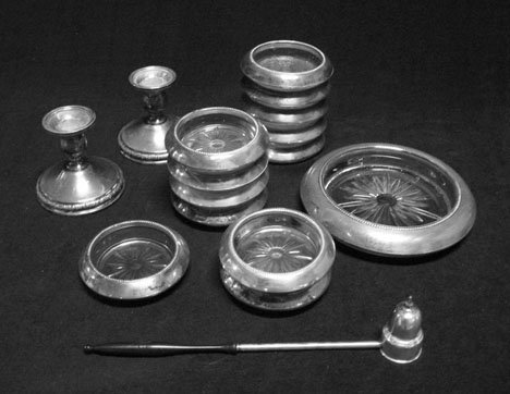 3154: Set of twelve glass & sterling silver coasters, ,