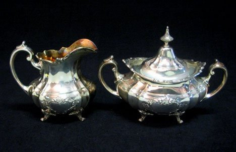 3155: Sterling silver covered sugar bowl and creamer, r