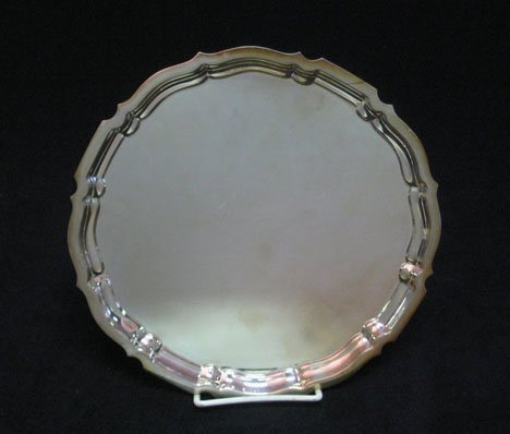 3159: Gorham sterling silver salver, , With a molded ri