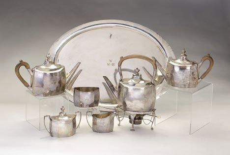 3170: Sterling silver six piece tea service, j.e.caldwe