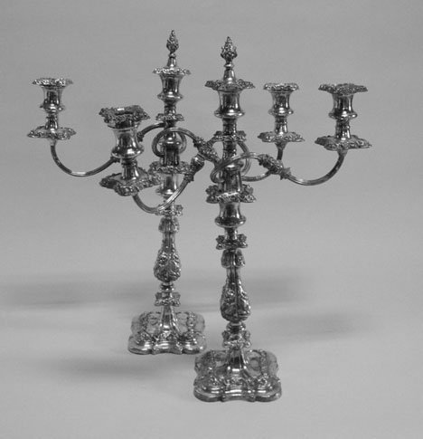 3171: Pair of silver plated three light candelabra, , T