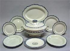 3701: Assembled English cream ware partial dinner servi