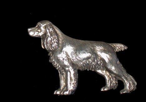 21602A: Sterling silver spaniel brooch by Richard E. Bi