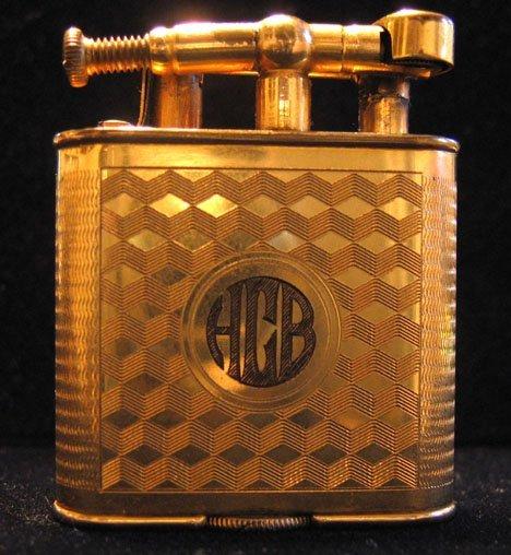 "21603: Alfred Dunhill Unique"" Art Deco gold plated ciga"