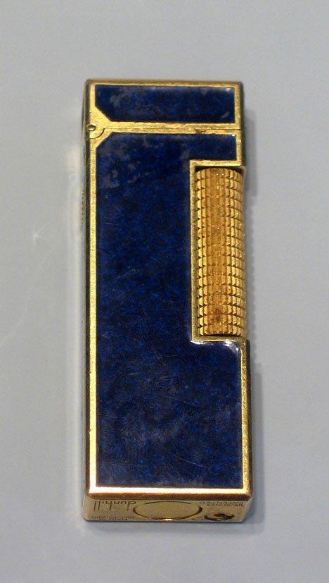 """21603A: Rectangular Dunhill lighter with lapis"""" facing,"""