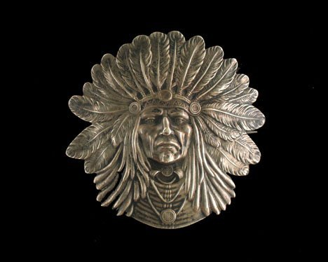 """21604: Sterling silver Art Nouveau pin Indian chief"""" by"""