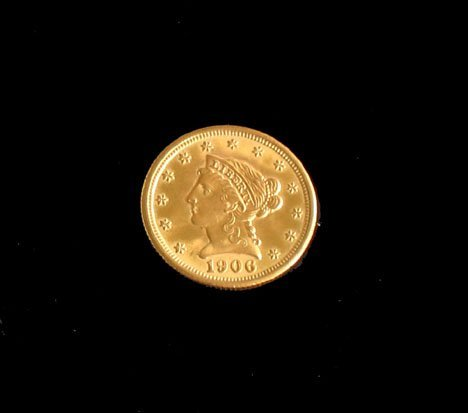 21605: 1906 U.S. two and a half dollar gold piece, ,