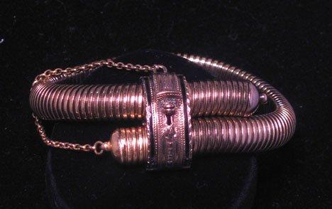 """21618: Victorian gold"""" snake style bracelet, circa 1890"""
