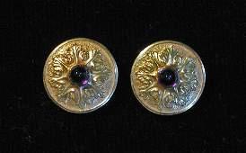 21750 Pair of circular 18 karat yellow gold and amethy