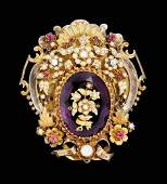 21820 Oval Edwardian gold and amethyst brooch  Set w