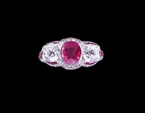 22047: Platinum, ruby and diamond Art Deco ring, circa