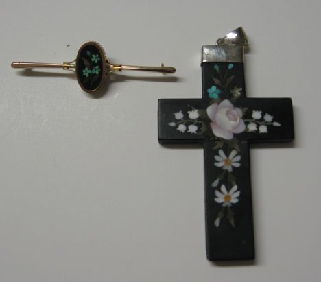 1: An Ornately Decorated Pietra Dura Cross, 19th/ 20th