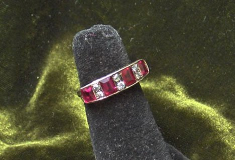 8: 14 karat Yellow Gold, Diamond and Synthetic Ruby Rin