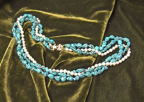 9: Turquoise, baroque bead and pearl three strand twist