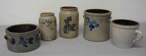 228: Five piece Stoneware Crocks, 19th / 20th c., All b