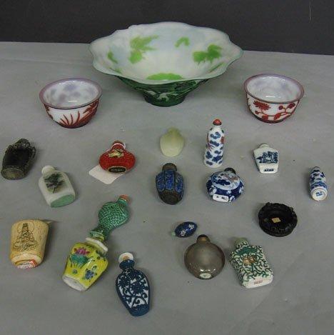 251: Sixteen piece Snuff Bottles and 3 Peking Glass Bow
