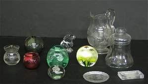 287: Eleven piece Group of Clear and Colored Glass, 19t