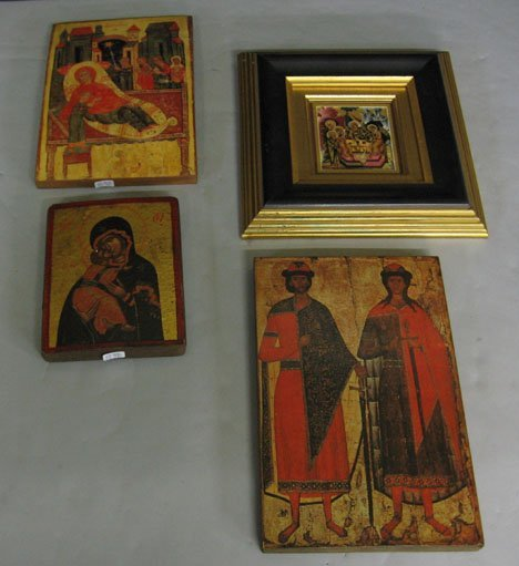 1410: Four piece Icons, 20th c., With 2 printed Icons o