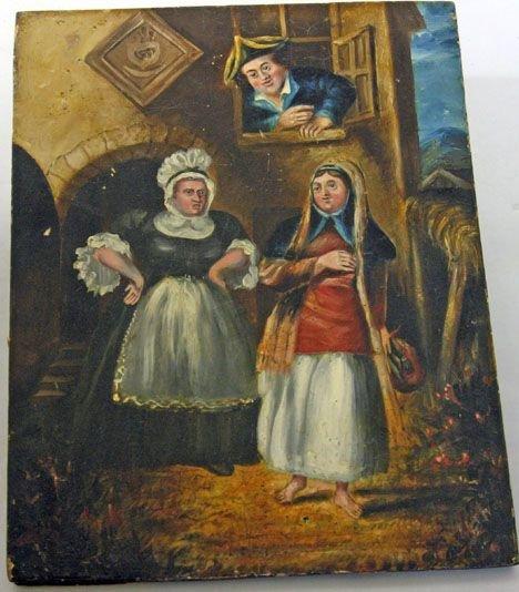 1412: Unframed Oil on Board of a Court Yard Scene, 20th
