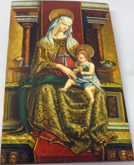 1413: Unframed Oil on Board of Madonna and Child, 20th