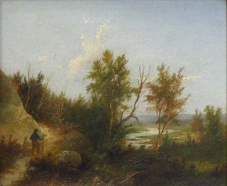 1415: HIKER ON PATH, 19th c., Unsigned. Oil on canvas.